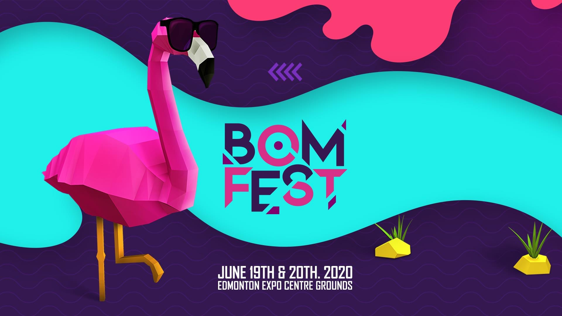 The BOMFEST cover photo, featuring a fabulous flamingo with large sunglasses.
